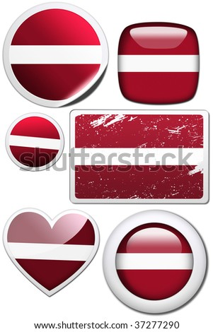 Set of stickers and buttons - Latvia - stock photo