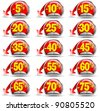 Set of stickers for sale with discounts and red arrow - stock vector