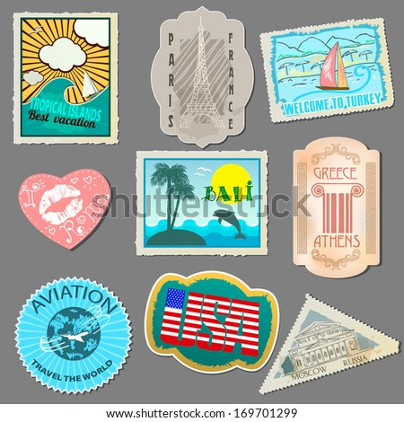 Set of stickers for travelers. Paper labels for sticking to your luggage.  Isolated on gray background. Raster copy  - stock photo