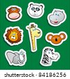 Set of stickers with jungle subjects - stock vector