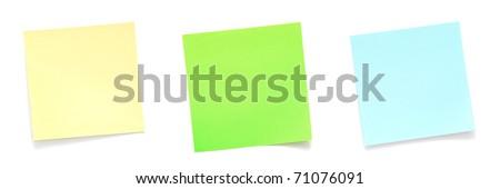 Set of sticky notes on white background - stock photo