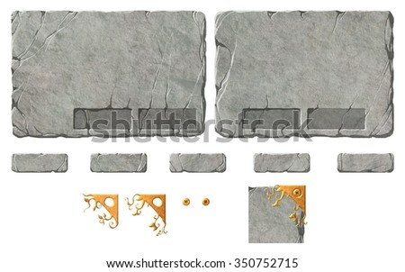 Set of stone fantasy interface elements. Buttons and panel backgrounds with holders for the buttons. Metal ornaments for the corners and close buttons - stock photo