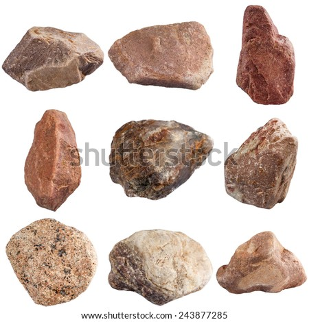 Set of stones isolated on white background. Natural minerals mined in Russia. - stock photo