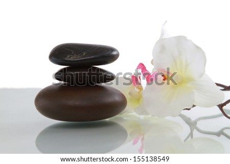 set of stones with flower