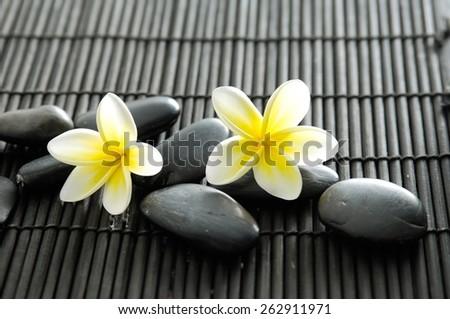 Set of stones with frangipani on mat  - stock photo