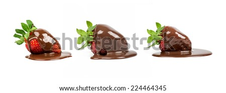 set of strawberry lies in the chocolate isolated - stock photo