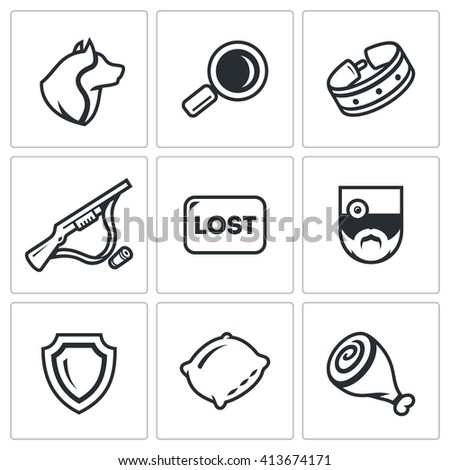 Set of Stray Dogs Icons. Pooch, Search, Capture. Shooting, Loss, Veterinary, Zoo protection, Asleep, Food. Homeless street animals and their catch. Isolated symbols on a white background - stock photo