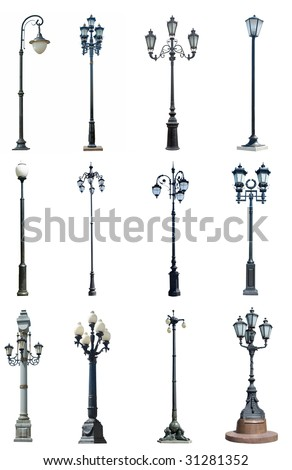 Set of street lamps on white background - stock photo