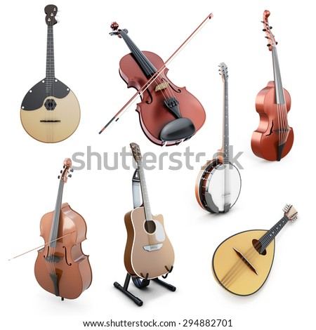 Set of string musical instruments isolated on white background. Domra, Mandolin, Guitar, Double bass, Banjo, Violin on a wihte. 3d illustration. - stock photo