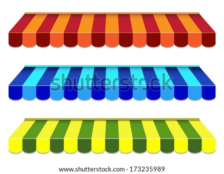 set of striped awnings - stock photo