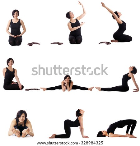 Set of studio photos with cute yoga model