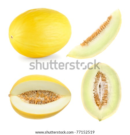 Set of 4 studio shots of a honeydew melon cut differently and whole - stock photo