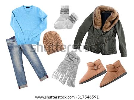 Set Stylish Winter Clothes On White Stock Photo Royalty Free