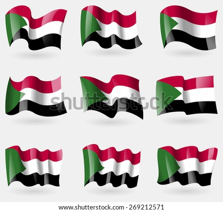 Set of Sudan flags in the air.  illustration - stock photo