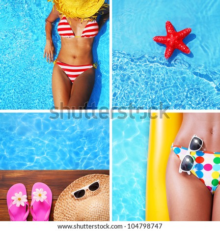 Set of summer holiday images