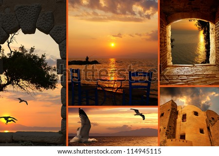 Set of summer photos at sunset  in Santorini island, Greece - stock photo