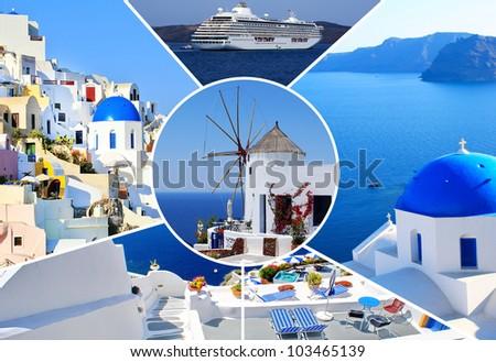 Set of summer photos in Santorini island, Greece - stock photo