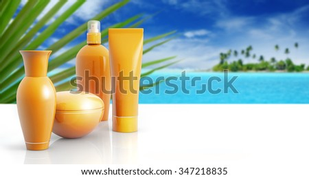 set of sun lotions in a tropical background - stock photo