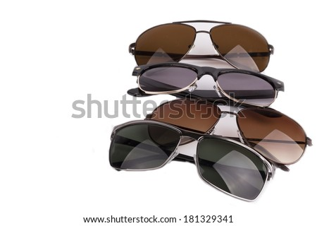 set of sunglasses isolated on white