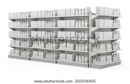 set of supermarket shelves in slight perspective with blank products - stock photo