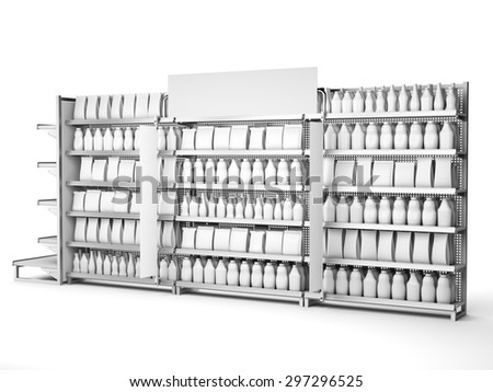 set of supermarket shelves with blank products and banners - stock photo