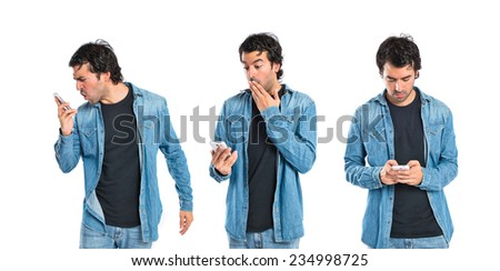 Set of Surprised man talking to mobile over white background   - stock photo