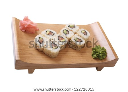 set of sushi with salmon and avocado , isolated on a white background