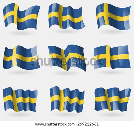 Set of Sweden flags in the air.  illustration - stock photo
