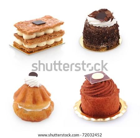 set of sweet appetizing cake - stock photo