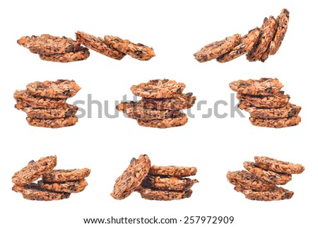 set of sweet cereal biscuits, cookies with nougat isolated on white  - stock photo