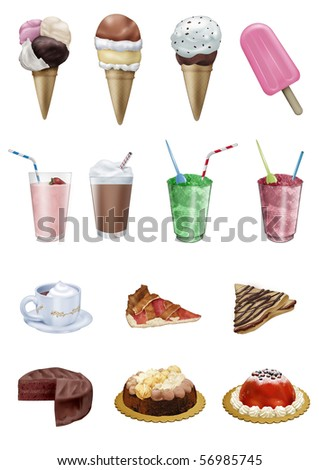 Set of 14 sweet delicacies. 1st row: three kinds of ice-cream and a  popsicle-2nd row:2 milkshake and 2 crushed ice glasses-3rd row: hot chocolate cup, fruit tart and crepe-4th row:3 cakes