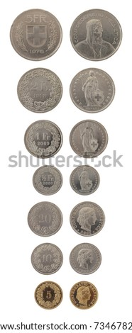 Set of Swiss Franc coins isolated on white - stock photo