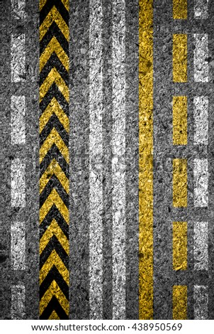 set of symbol on asphalt road texture background with clipping path - stock photo