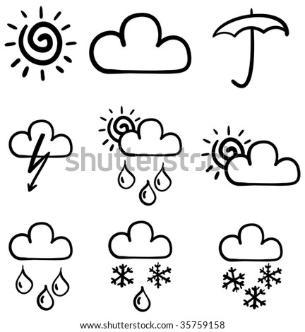 Set of symbols for the indication of weather. Raster illustration. Sketch simulate.