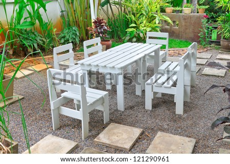 Set of table and chairs for receive breakfast