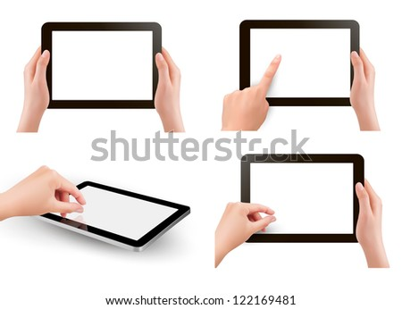 Set of tables pc with hands. Raster version of vector