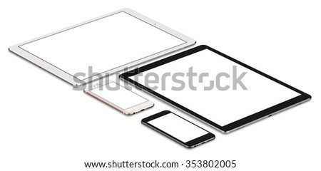 Set of tablet computer isolated on white background, with blank screen mockup, isolated. Whole render in focus. - stock photo