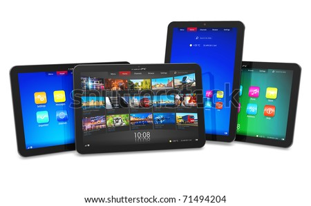 Set of tablet computers - stock photo
