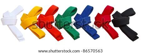 Set of Tae Kwon Do Belts isolated on white - stock photo