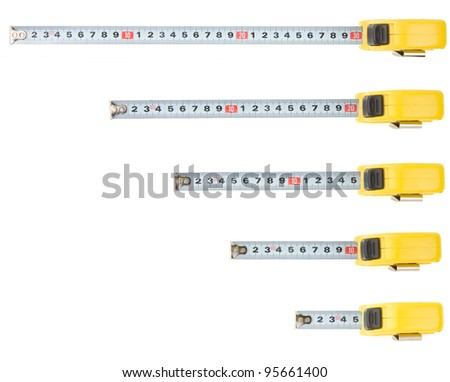 set of tape measure isolated on white background - stock photo