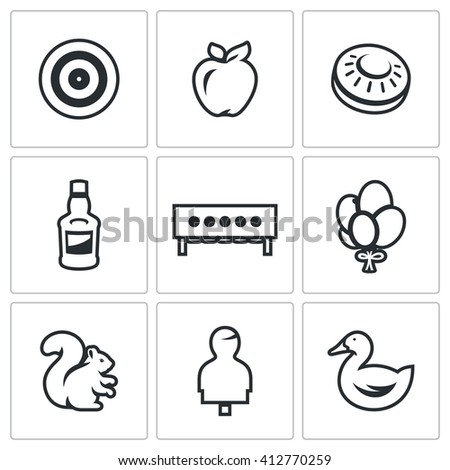 Set of Target Icons. Archery, Apple, Plate for bench Shooting, Bottle, Biathlon, Balloons, Squirrel, Human figure, Duck. Different types of targets for aimed fire. Isolated on a white background - stock photo