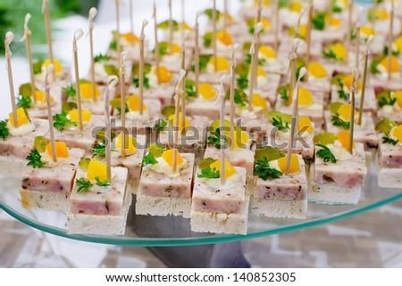 Set of tasty canape - stock photo