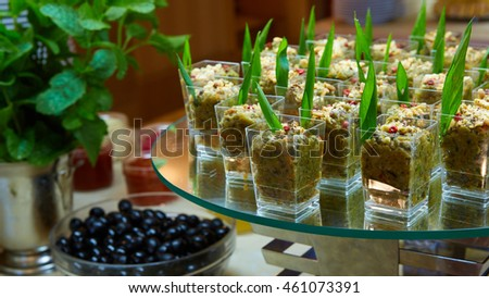 Set of tasty canape for an event party