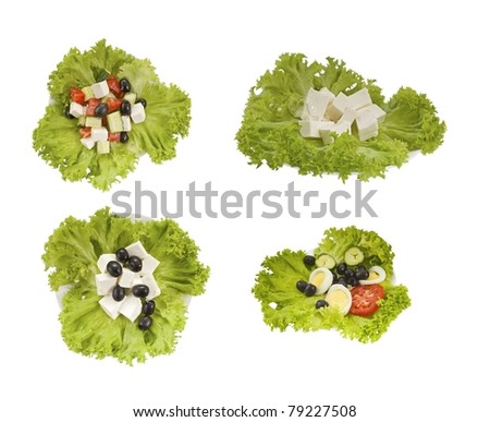 set of tasty salads on white background - stock photo