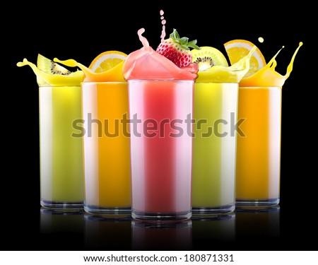 set of tasty summer fruits with juice in glass and tube