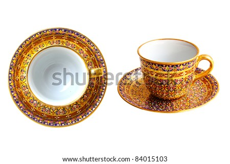 set of tea cup thai's design - stock photo