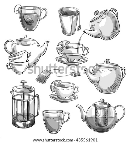 Set of tea cups and teapots sketch.  - stock photo