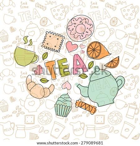 Set of tea doodle items - stock photo