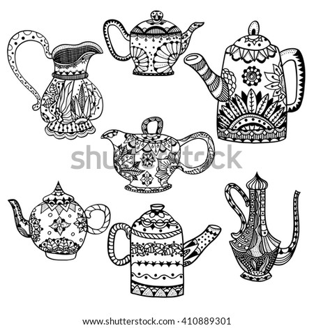 Set of Teapots and jugs isolated art illustration. Hand drawn art made of flowers and Leaves.