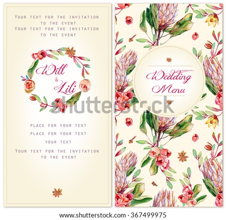 Set of templates for celebration. Watercolor illustrations  pink protea, roses, anise. Can be used for wedding design, Valentine's day, birthday, mother's day and so on.  Soft, gentle colors.
